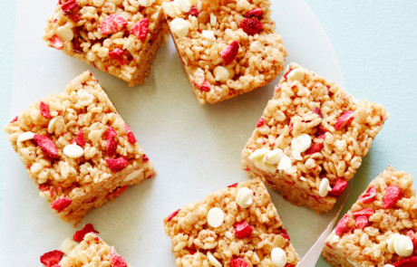 FNK STRAWBERRYALMOND CEREAL BARS, Food Network Kitchen, Unsalted Butter, Mini Marshmallows, Almond Butter, Vanilla Extract, Crispy Rice Cereal, Freeze Dried Strawberries, White Chocolate Chips
